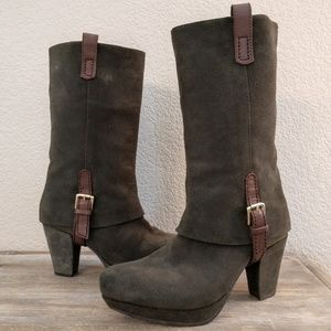 Earthies pine color suede leather equestrian boots